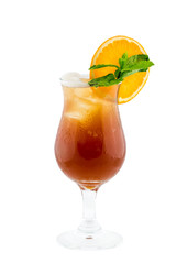 Fresh drink cocktail decorated by green mint and orange