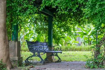 Metal bench in park