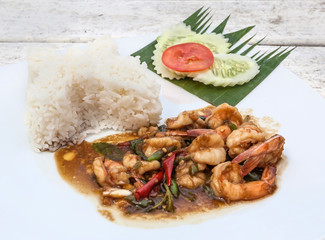 Basil fried rice with prawn, Thai food