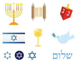 Jewish culture icon set