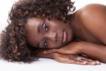 Attractive African American Woman Reclining Portrait