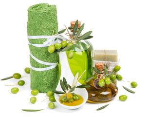 spa still life of  green olives