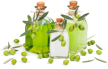 Liquid soap, cream and shampoo of green olive