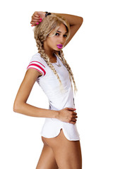 Light Complexion Black Woman Blond Wig Shirt