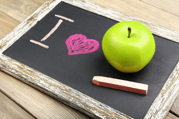 I love apple written on chalkboard, close-up