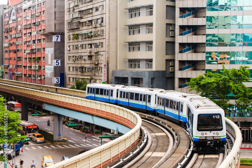 metro train on the way in Taipei city - 69865524