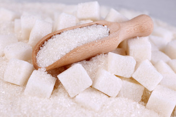 White sugar in light background background