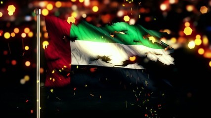 United Arab Emirates Flag Torn Burned War Freedom Loop Animation