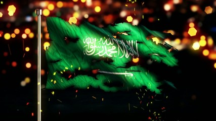 Saudi Arabia Flag Torn Burned War Freedom Loop Animation