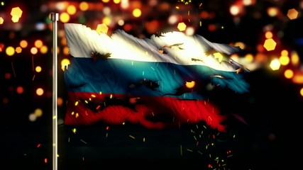 Russia Flag Torn Burned War Freedom Loop Animation