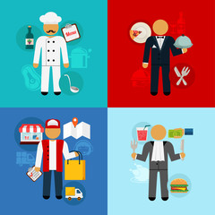 Stock vector working food man flat icon set