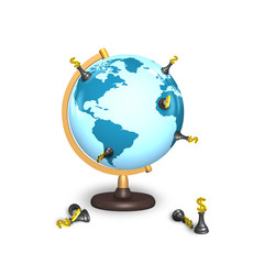 dollar chess stand on terrestrial globe