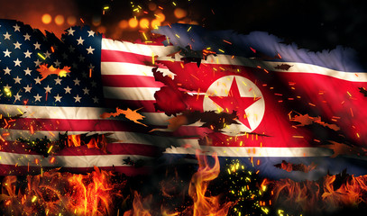 USA North Korea National Flag War Fire International Conflict