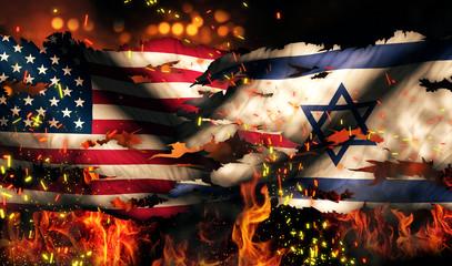 USA Israel National Flag War Torn Fire International Conflict 3D