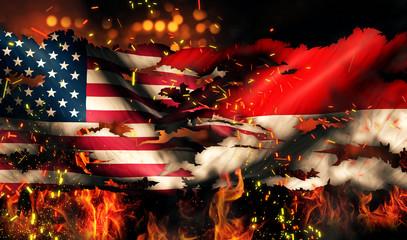 USA Indonesia National Flag War Torn Fire International Conflict
