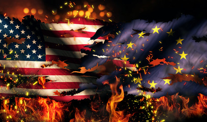 USA Europe National Flag War Torn Fire International Conflict 3D