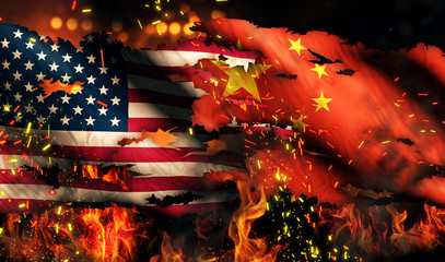 USA China National Flag War Torn Fire International Conflict 3D
