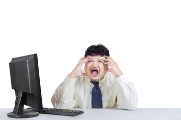Businessman screaming and expressing stressful