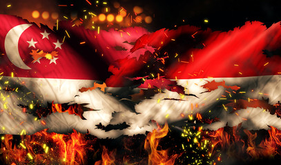 Singapore Indonesia Flag War Torn Fire International Conflict 3D