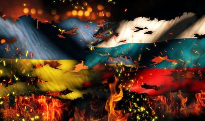 Ukraine Russia Flag War Torn Fire International Conflict 3D