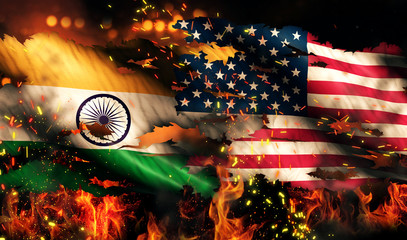 India USA Flag War Torn Fire International Conflict 3D