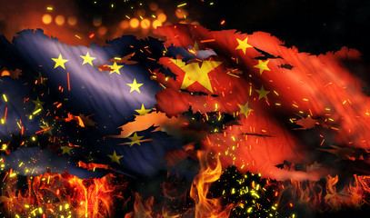 Europe China Flag War Torn Fire International Conflict 3D
