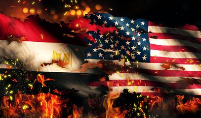 Egypt USA Flag War Torn Fire International Conflict 3D