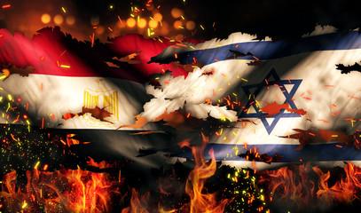 Egypt Israel Flag War Torn Fire International Conflict 3D