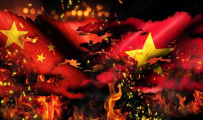 China Vietnam Flag War Torn Fire International Conflict 3D