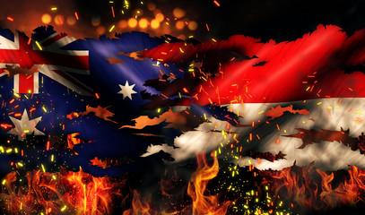 Australia Indonesia Flag War Torn Fire International Conflict 3D