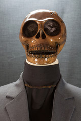 Human skull on a black background. Halloween day