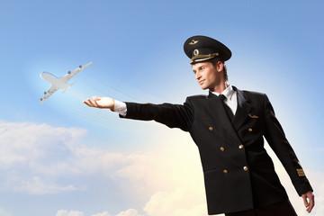 Image of pilot touching air