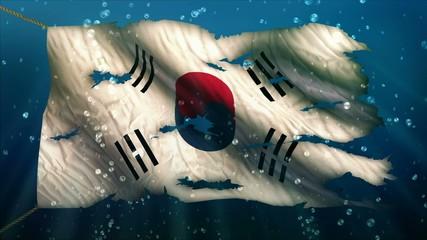 South Korea Under Water Sea Torn Flag Loop Animation