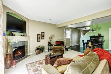 Living room in light green and beige tones