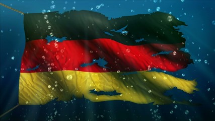 Germany Under Water Sea Torn Flag Loop Animation