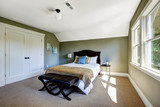 Bedroom with green walls and vaulted ceiling