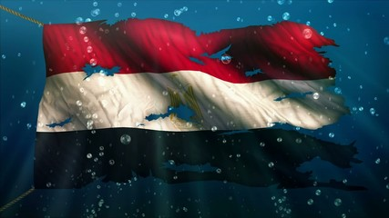 Egypt Under Water Sea Torn Flag Loop Animation