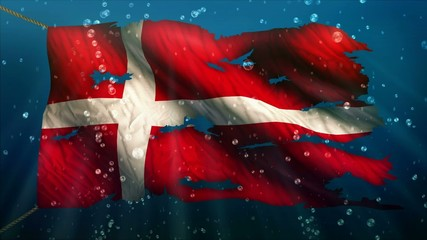 Denmark Under Water Sea Torn Flag Loop Animation