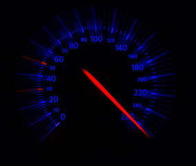 close up of speedometer