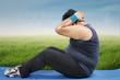Overweight man workout outdoors