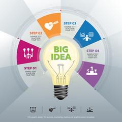BULB ICON WITH IDEA CONCEPT INFO GRAPHIC