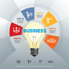 BULB ICON WITH IDEA CONCEPT INFO GRAPHIC