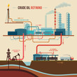 Illustration of a crude oil refining - 69868129