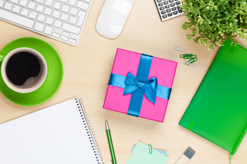 Gift box on office table