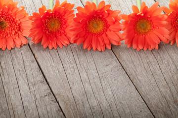 Wooden background with orange gerbera flowers