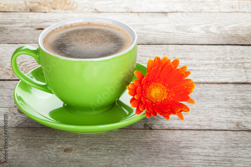 canvas print picture Coffee cup and gerbera flower