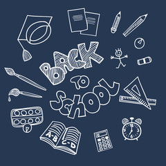 Back to school supplies doodles