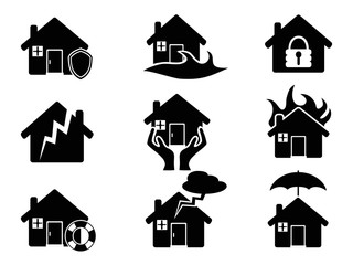 Property insurance icons set