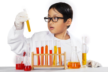 Young chemist holding chemistry