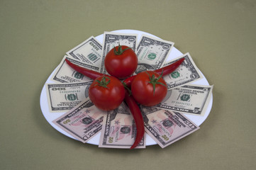 Money and the food on the plate, image 9